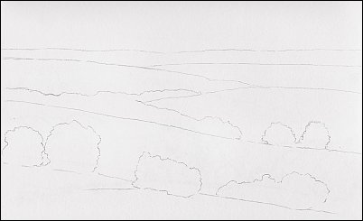 line drawing of a landscape without pictorial depth