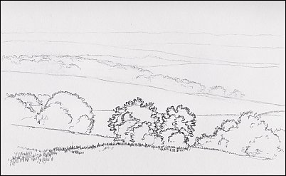 line drawing of a landscape with pictorial depth