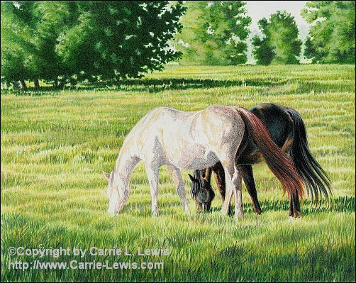 Afternoon Graze, Original Colored Pencil Landscape, April 11, 2013