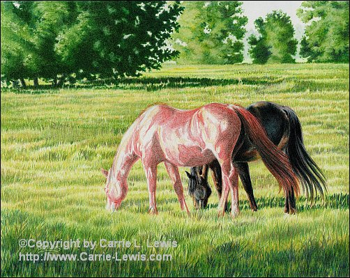 Afternoon Graze, Original Colored Pencil Landscape, April 13, 2013