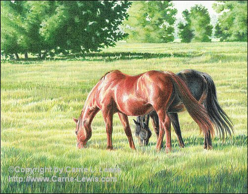 Afternoon Graze, Original Colored Pencil Landscape, April 19, 2013
