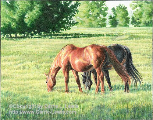 Afternoon Graze, Original Colored Pencil Landscape, April 22, 2013