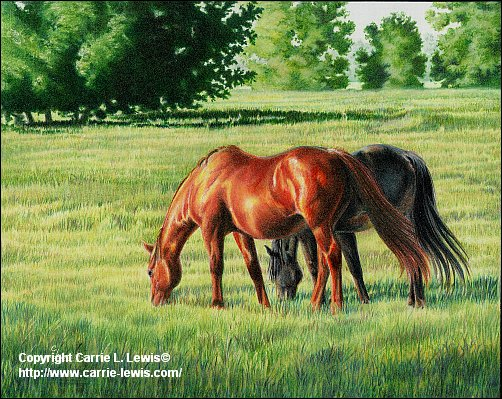 Afternoon Graze, Original Colored Pencil Landscape, April 23, 2013