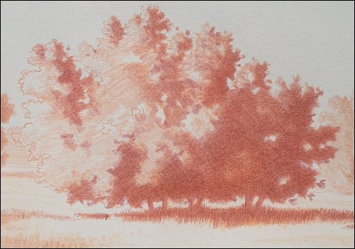 Complementary Landscape, Underpainting in Red