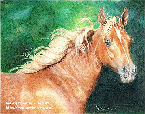 Original Colored Pencil Drawing, Fire N Ice Filly