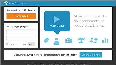 Image of WordPress landing page