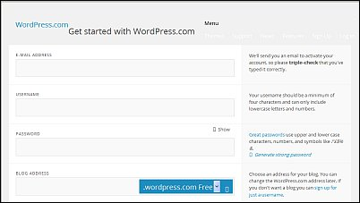 Image of WordPress get started button