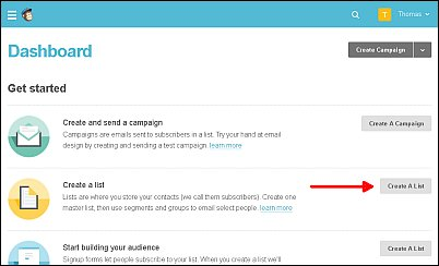 How to Create a List with MailChimp Screen Shot 1