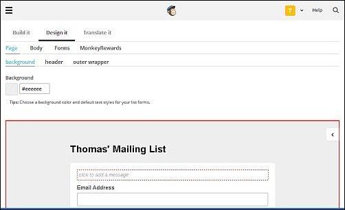 MailChimp Design Options, Screen Shot 1