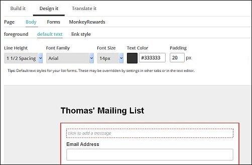 MailChimp Design Options, Screen Shot 1b