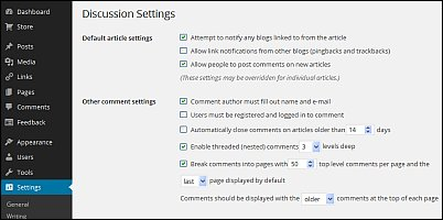 Discussion settings page image