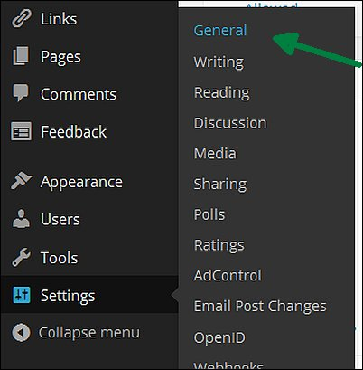 Wordpress General Settings, Screen Shot 2