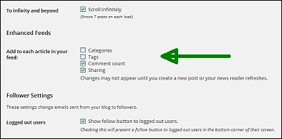 Reader settings for free WordPress blogs screen shot 17