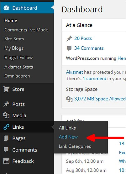 WordPress Links Screen Shot 1