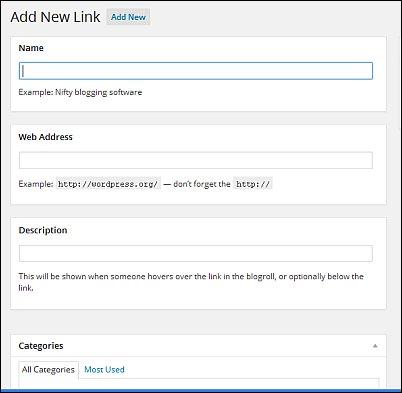 WordPress Links Screen Shot 2